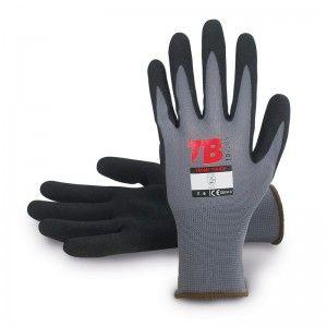 Guante nylon gris sin costuras TOMAS BODERO, recubrimiento nitrilo negro Microfinish en palma - 700MF TOUCH