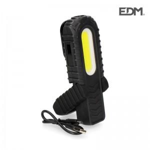 Linterna led recargable EDM 300 lúmenes luz frontal y superior - 36403