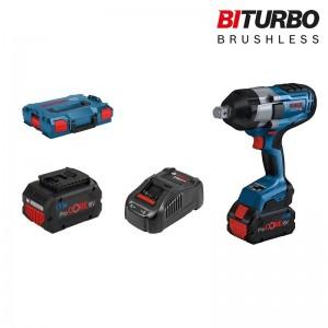 Atornillador de impacto BITURBO a batería BOSCH GDS 18V-1050 H Professional, 2 baterías 5.5Ah y maletín - 06019J8503