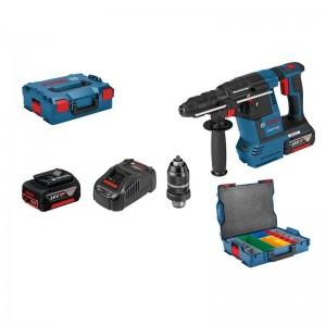 Martillo perforador SDS-plus BOSCH GBH 18V-26 F, 2 baterías 5.0 Ah, portabrocas y maleta clasificador - 0611910007