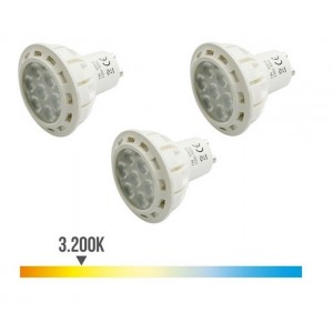 Pack 3 lámparas led para GU10 de 7w luz cálida