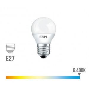 Lámpara led esférica EDM E27 5W 400 lúmenes luz fría 6400K - 98320