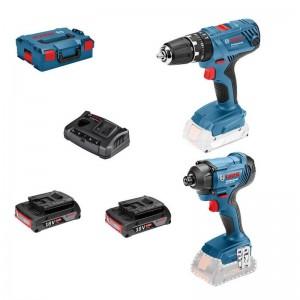 Taladro percutor BOSCH GSB 18V-21 + Atornillador BOSCH GDR 18V-160 + 2 baterías de 2.0Ah + maletín L-Boxx - 0615990L41