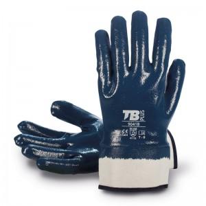 Guante soporte algodón jersey TOMAS BODERO, recubrimiento nitrilo azul y dorso cubierto - 9041B