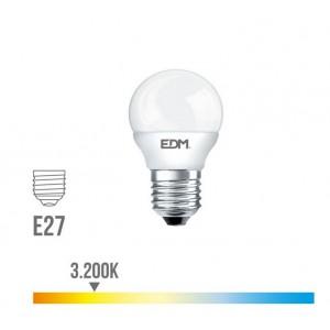 Lámpara led esférica EDM E27 5W 400 lúmenes luz cálida 3200K - 98321