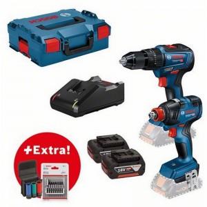 Set Profesional atornillador de impacto BOSCH GDX 18V-200 + Taladro GSB 18V-55 con accesorios - 0615990L7E
