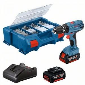 Taladro BOSCH GSB 18V-21 + 2 baterías 4,0 Ah con 82 accesorios en maleta de transporte - 06019H110C